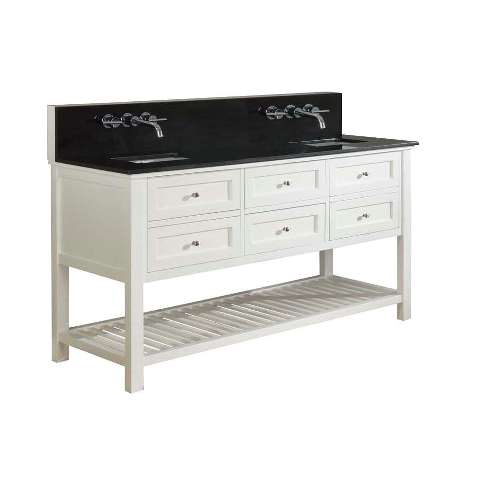 Mission Spa Premium 70 in. Double Vanity in Pearl White with Granite Vanity Top in Black