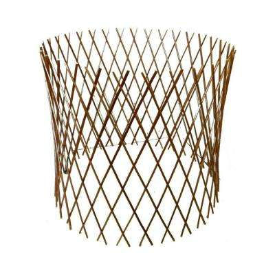 30 in. H x 60 in. Dia Peeled Willow Circular Lattice Trellis Fence Light Mahogany Color