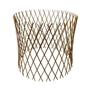 30 inch H x 60 inch Dia Peeled Willow Circular Lattice Trellis Fence Light Mahogany Color by