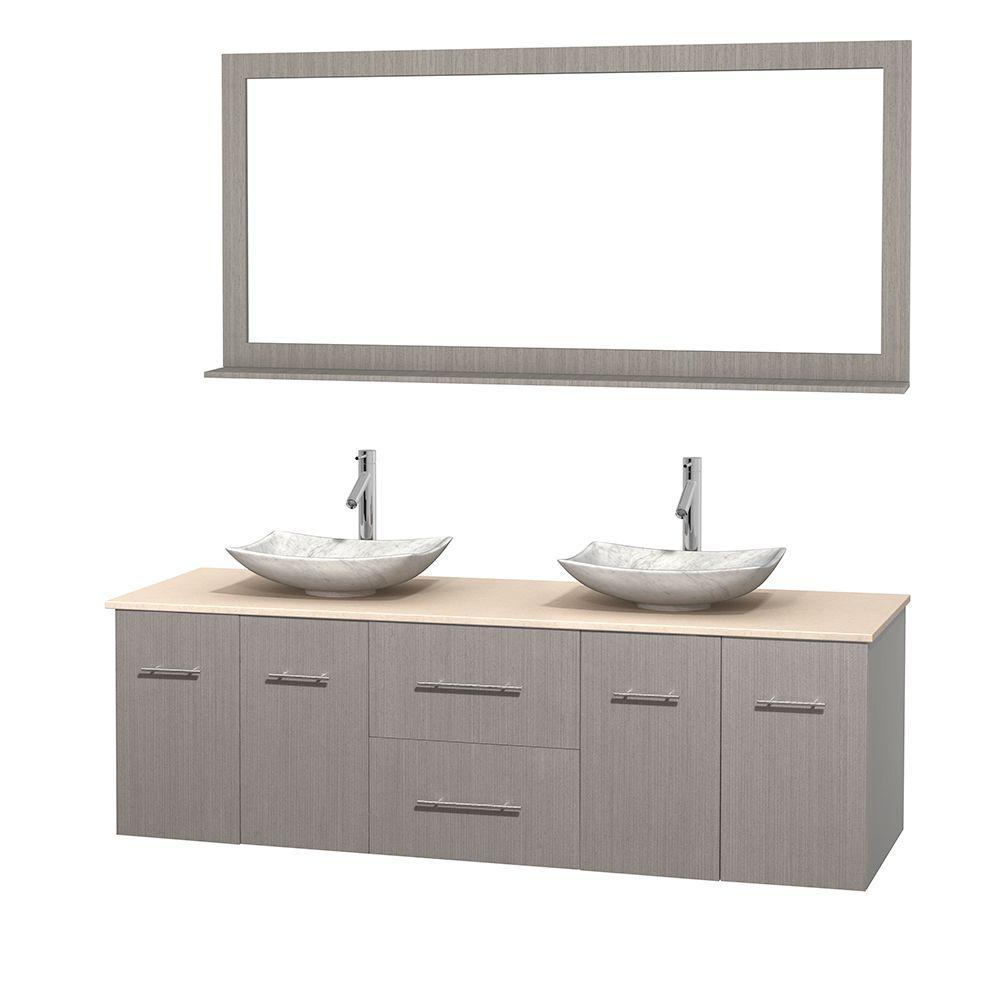 Centra 72 in. Double Vanity in Gray Oak with Marble Vanity