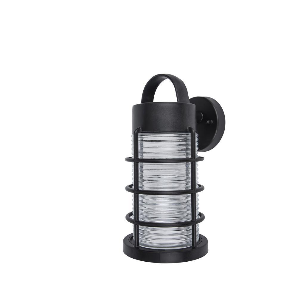 Coastal Bar Harbor 1-Light Black Outdoor Wall Mount Lantern