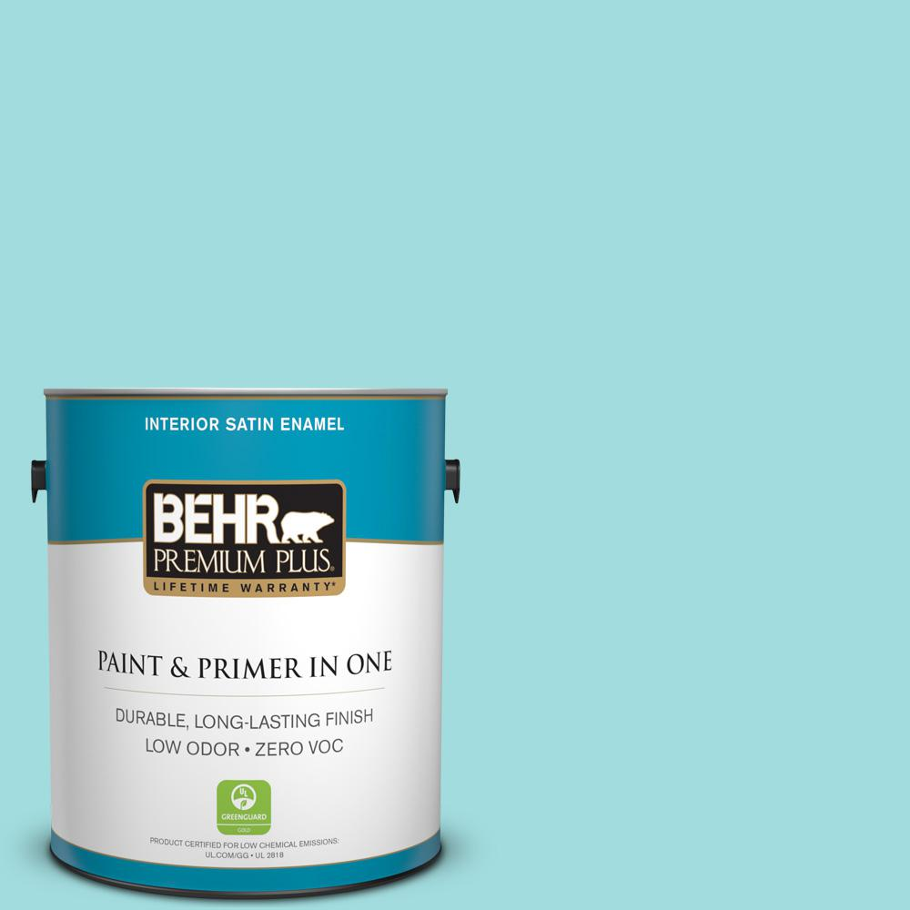 1 gal. #500A-3 Aqua Spray Satin Enamel Zero VOC Interior Paint
