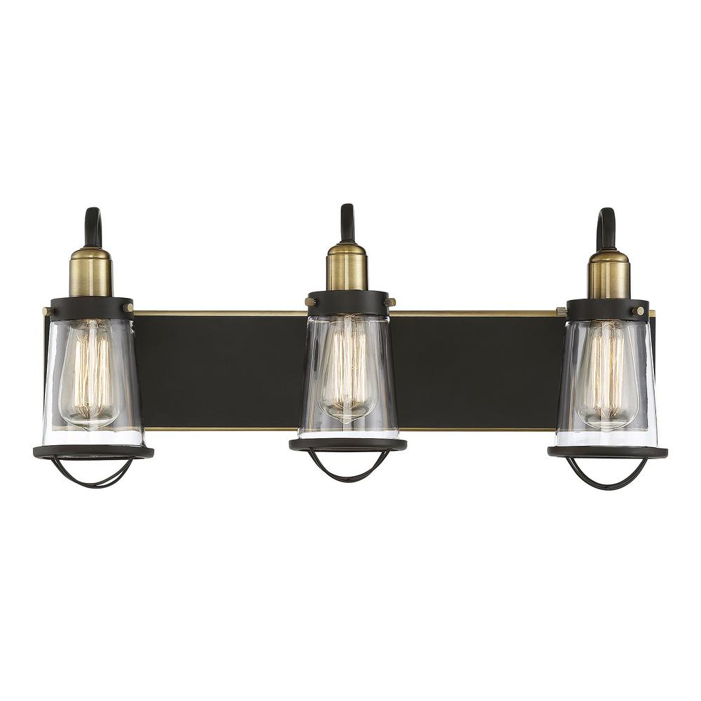 Filament Design 3 Light English Bronze And Warm Br Bath With Clear Gl