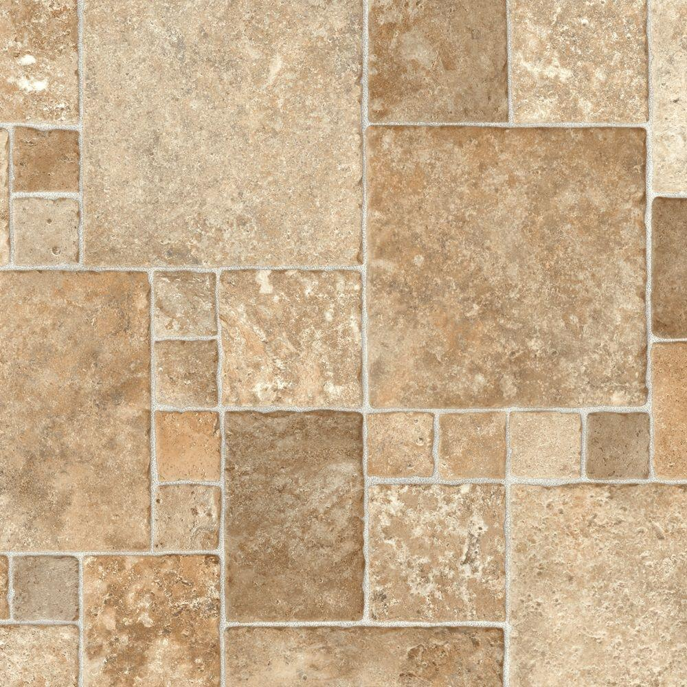 TrafficMASTER Take Home Sample - Sandstone Mosaic Vinyl Sheet - 6 ...