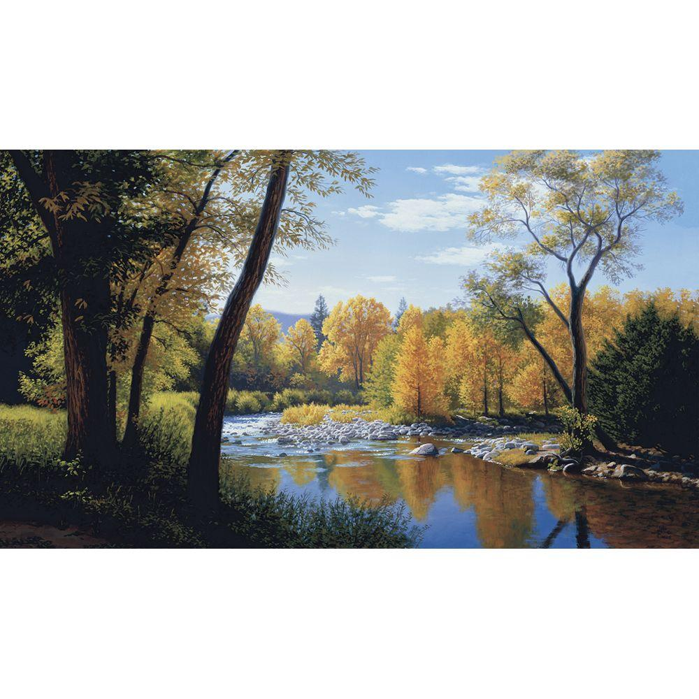 York Wallcoverings 10.5 ft. x 6 ft. When Summer Turns Autumn Chair Rail Wall Mural