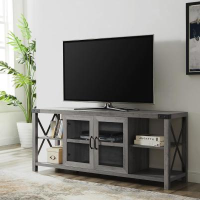 60 in. Gray Wash Composite TV Stand Fits TVs Up to 68 in. with Storage Doors