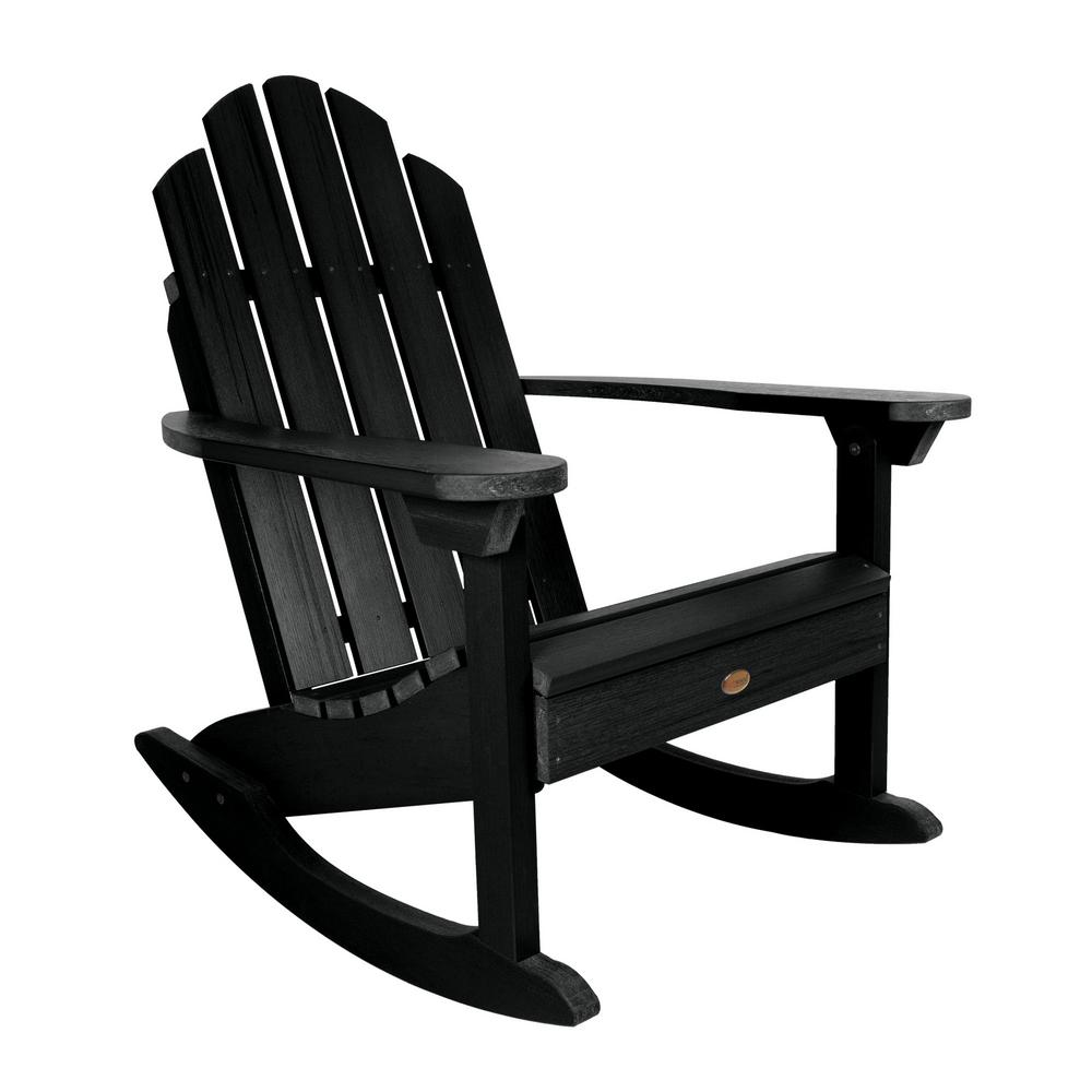 Highwood Classic Westport Black Recycled Plastic Outdoor Rocking Chair