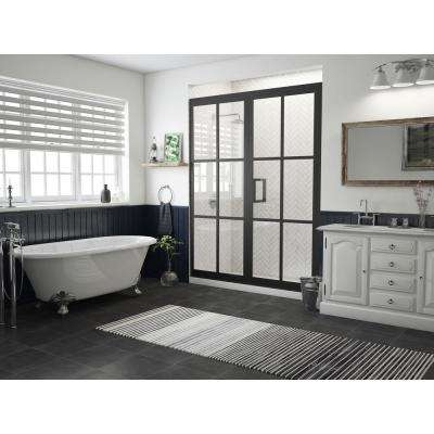 Gridscape Series 57 75 In X 76 Framed Hinged Shower Door And Inline Panel Black Clear Gl With Handle