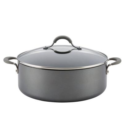 Elementum 7.5 qt. Hard-Anodized Aluminum Nonstick Stock Pot in Oyster Gray with Glass Lid