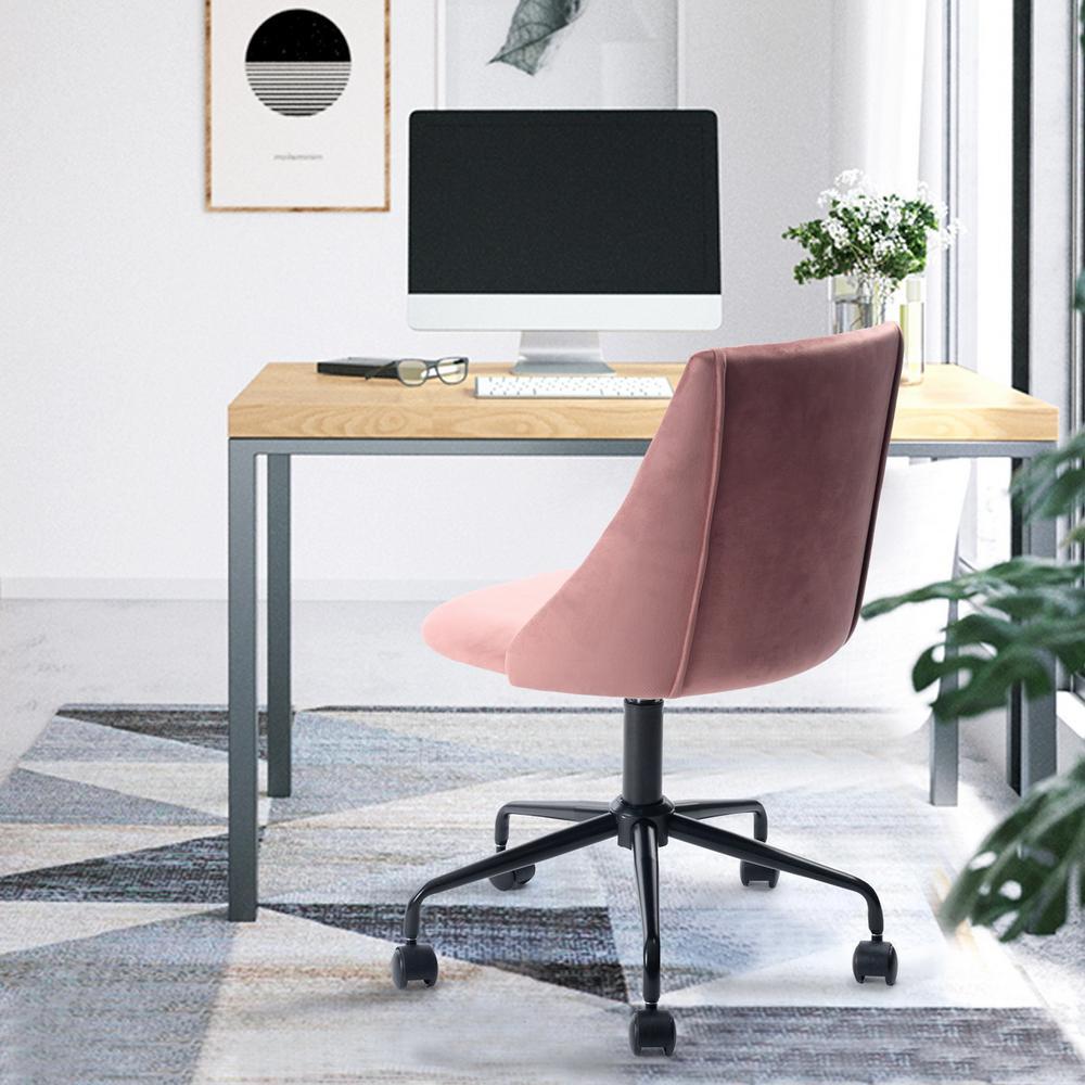 Cian Rose Velvet Swivel Office Desk Chair