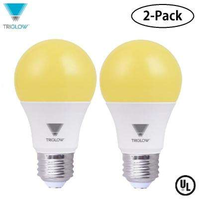 60-Watt Equivalent Yellow A19 LED Bug Light Bulb (2-Pack)