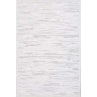 Machine Made Blanc De Blanc 8 ft. x 8 ft. Abstract Square Area Rug
