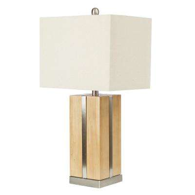 26.75 in. Gavin Wooden Block and Metal Brown Table Lamp with Shade