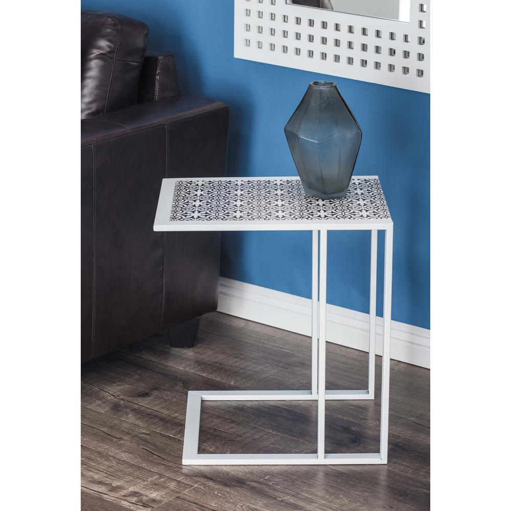 Modern L-Shaped Lattice Side Table in White