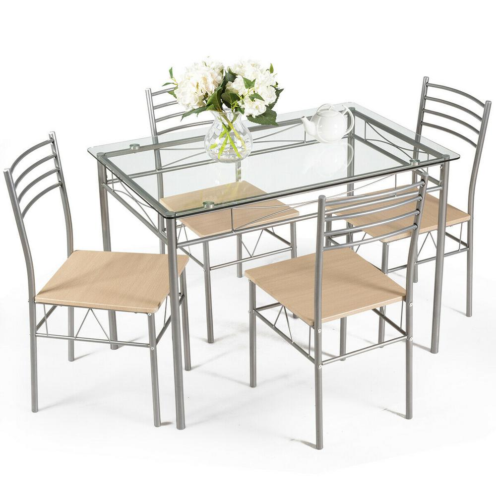 Dining Set 5-Piece Silver Table and 4 -Chairs Glass Top Kitchen Breakfast Furniture New