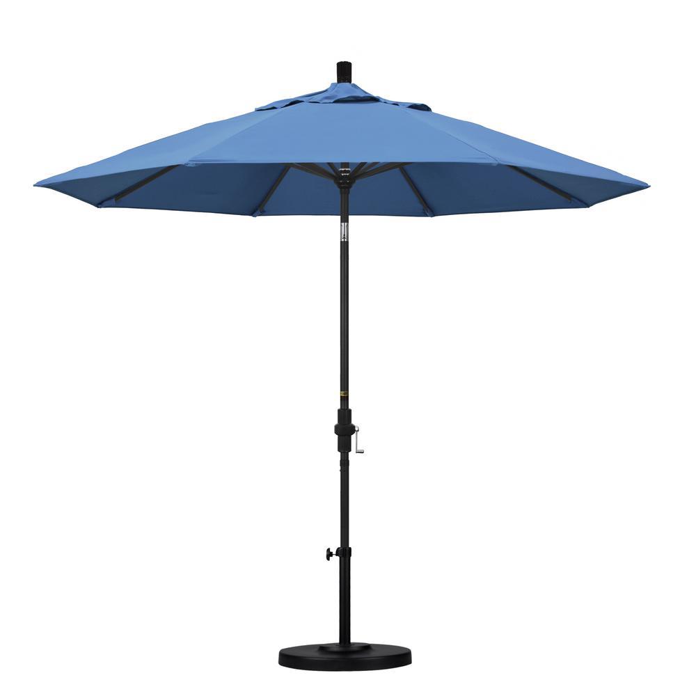 9 ft. Aluminum Collar Tilt Patio Umbrella in Frost Blue Olefin