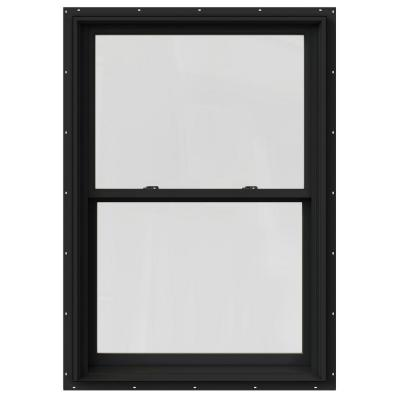 33.375 in. x 60 in. W-2500 Series Bronze Painted Clad Wood Double Hung Window w/ Natural Interior and Screen