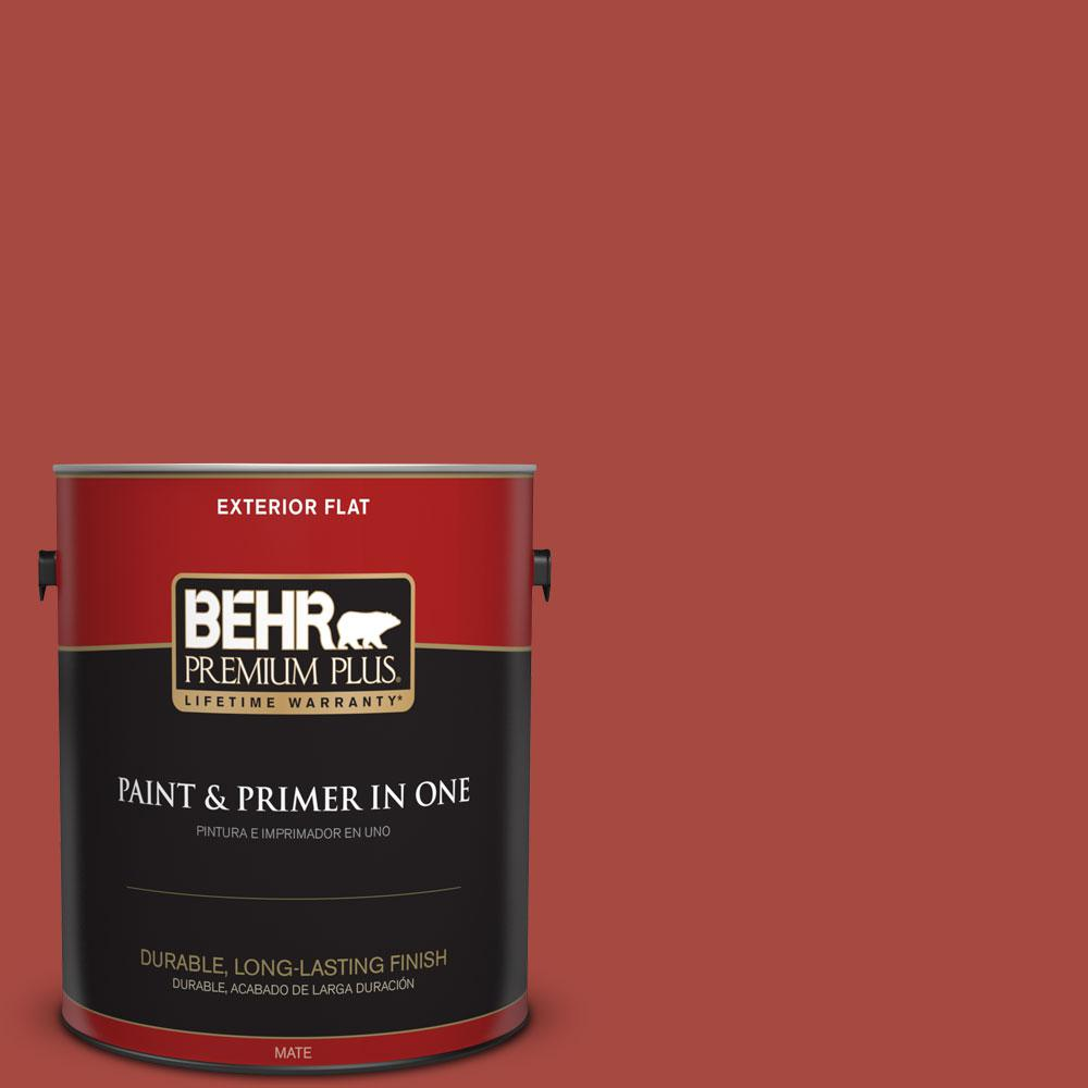 BEHR Premium Plus 1 Gal 170D 7 Farmhouse Red Flat Exterior Paint