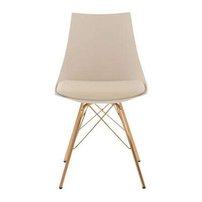 Oakley Chair in Cream Faux Leather with Gold Chrome Base