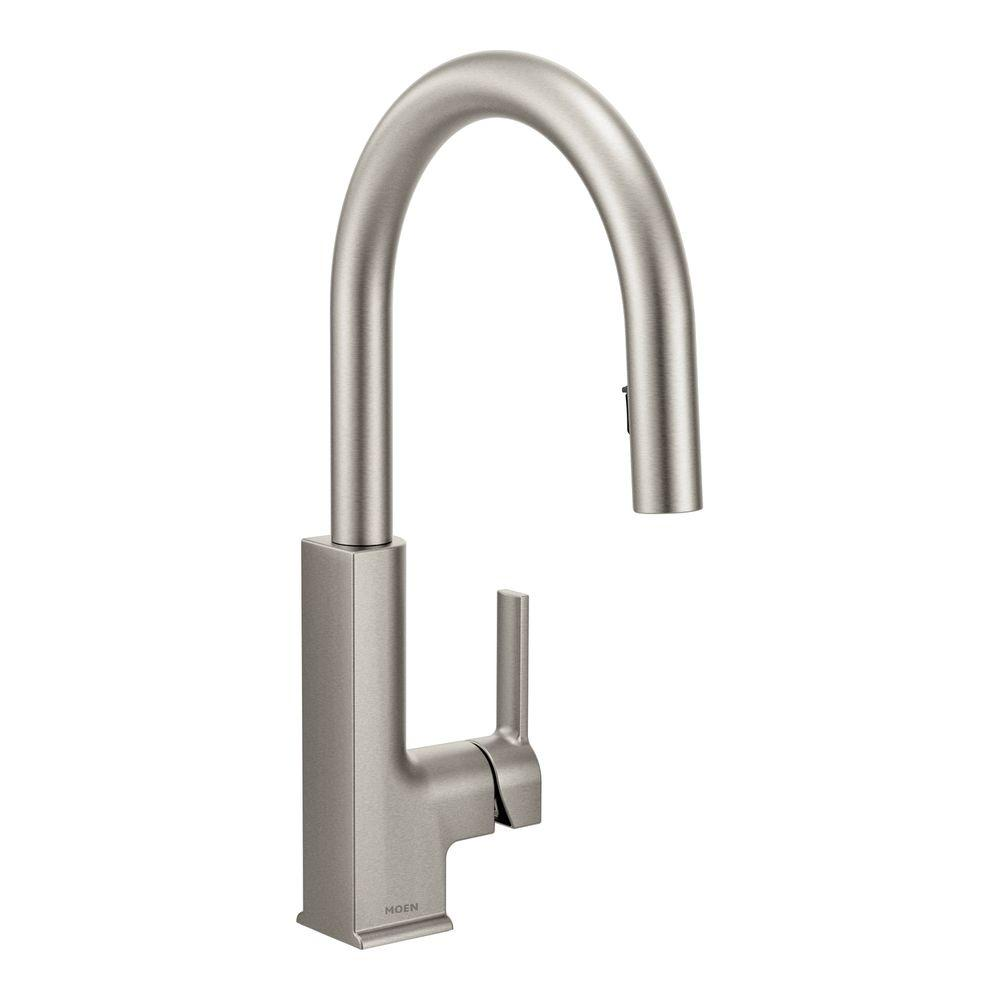 Moen Sto Single Handle Pull Down Sprayer Kitchen Faucet With Reflex