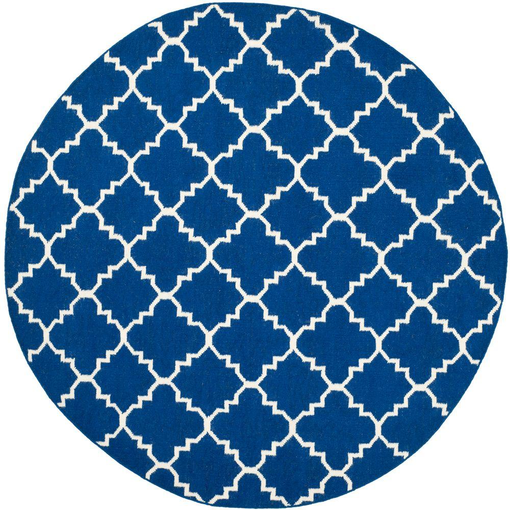 Safavieh Dhurries Dark Blue 6 ft. x 6 ft. Round Area Rug