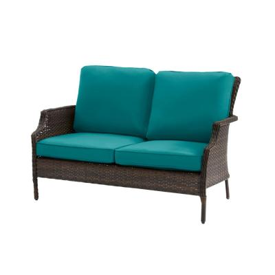 Grayson Brown Wicker Outdoor Patio Loveseat with Sunbrella Peacock Blue-Green Cushions