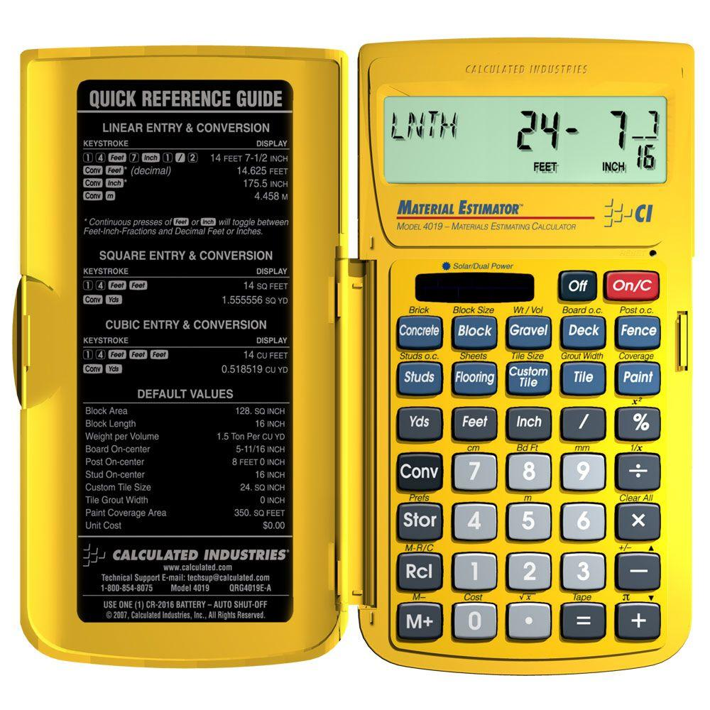 Material Estimator Calculator 4019