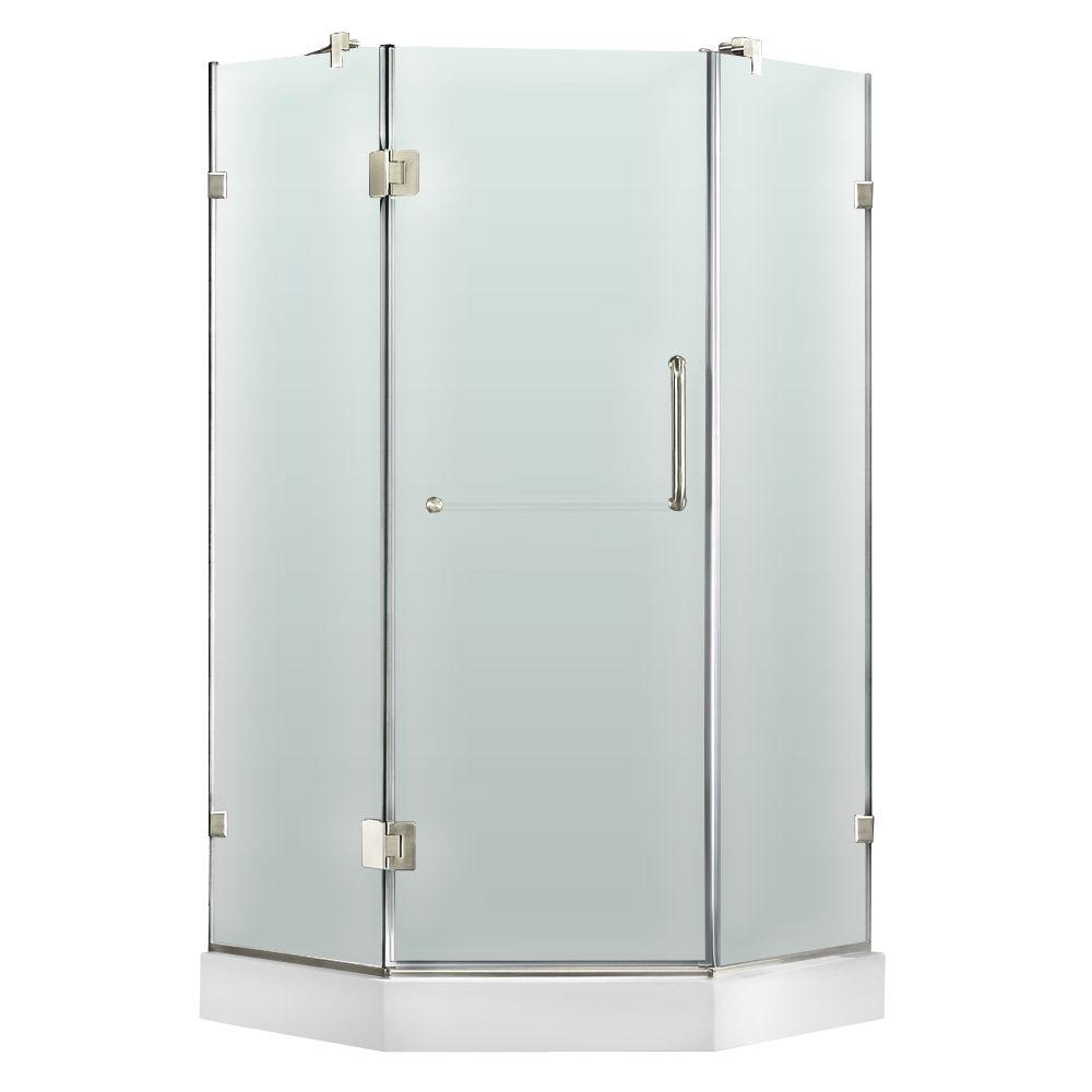 Vigo 38 in. x 78 in. Frameless Neo-Angle Shower Enclosure in Chrome with Frosted Glass and Right Base