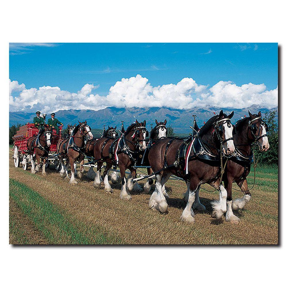 null 24 in. x 32 in. Clydesdales in Blue Sky Mountains Canvas Art