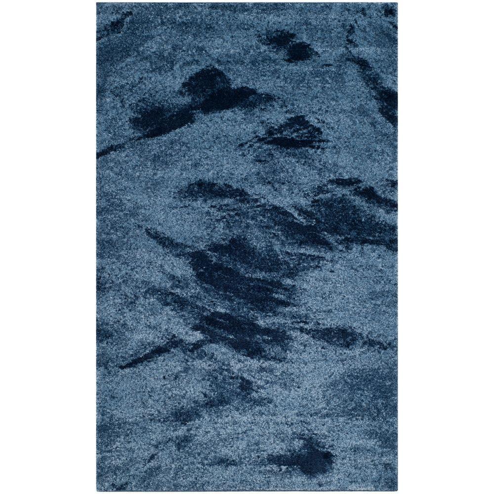 Retro Light Blue/Blue 4 ft. x 6 ft. Area Rug