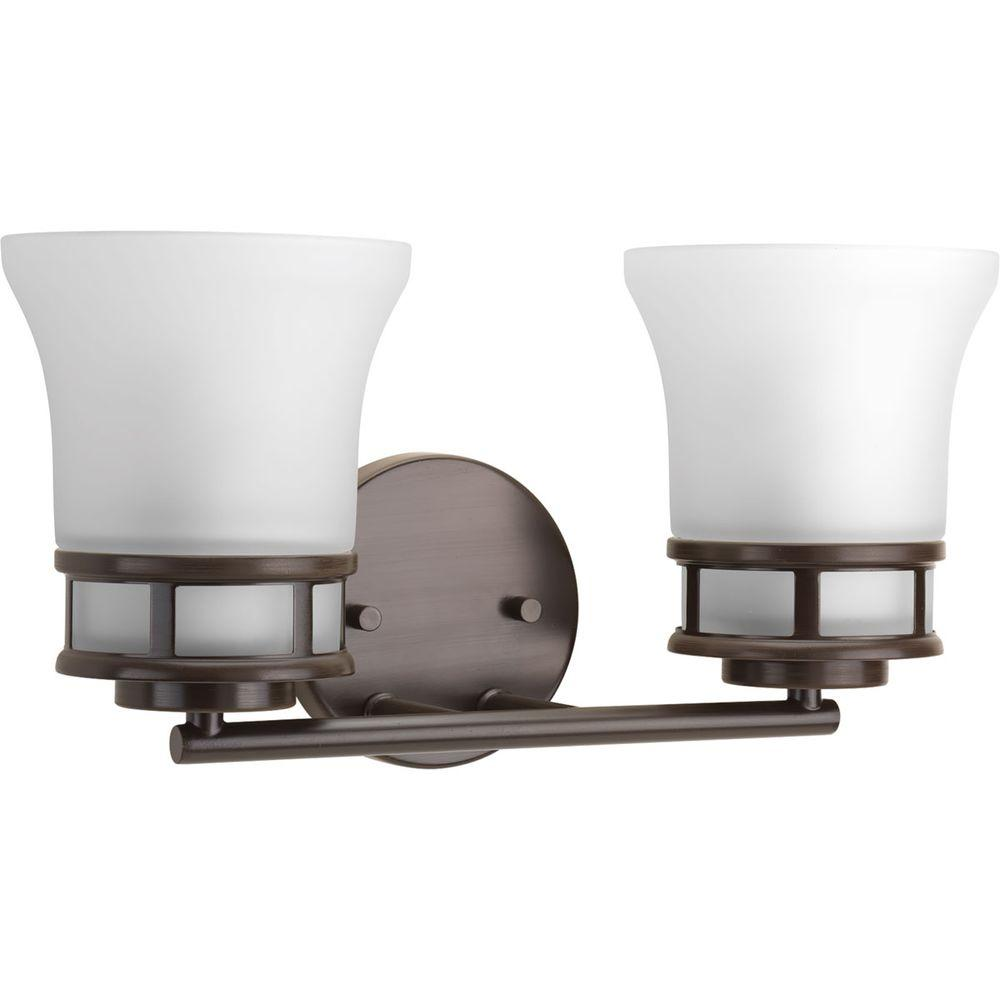 Cascadia Collection 2-Light Antique Bronze Vanity Light with Etched Glass Shades