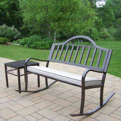 Rochester 3-Piece Metal Patio Conversation Set with Oatmeal Cushions