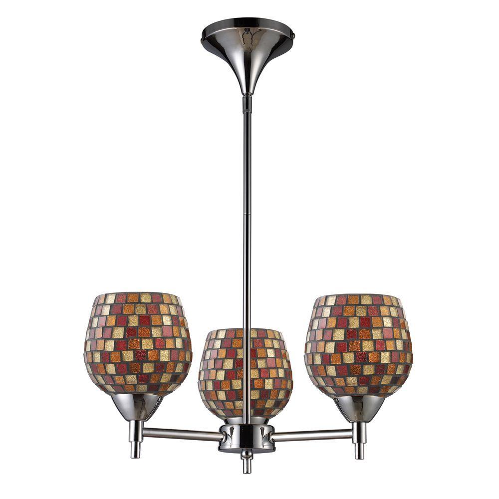 Titan Lighting 3-Light Ceiling Mount Polished Chrome Chandelier