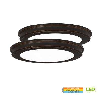 13 in. 24-Watt Oil Rubbed Bronze Color Changeable LED Ceiling Flushmount with White Acrylic Lens (2-Pack)