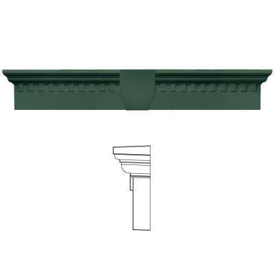 6 in. x 33 5/8 in. Classic Dentil Window Header with Keystone in 028 Forest Green