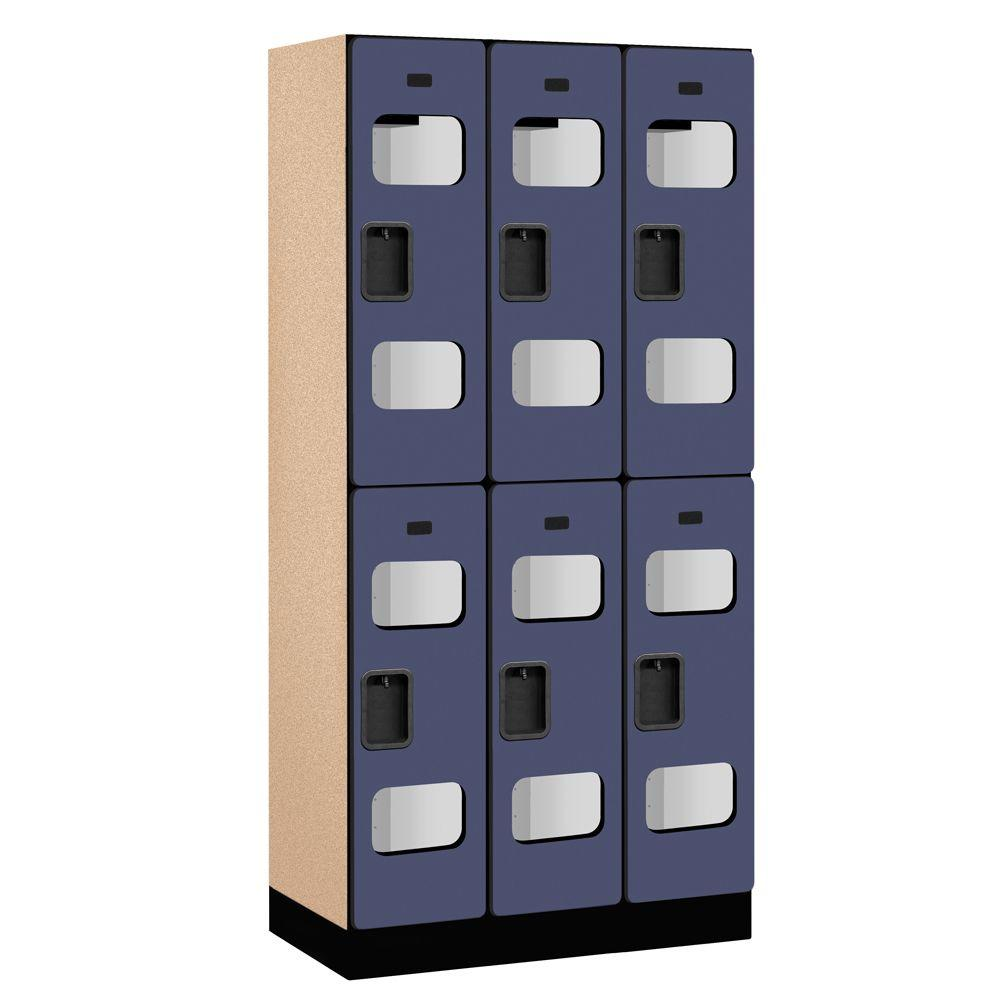 Salsbury Industries S-32000 Series 36 in. W x 76 in. H x 18 in. D 2-Tier See-Through Designer Wood Locker in Blue