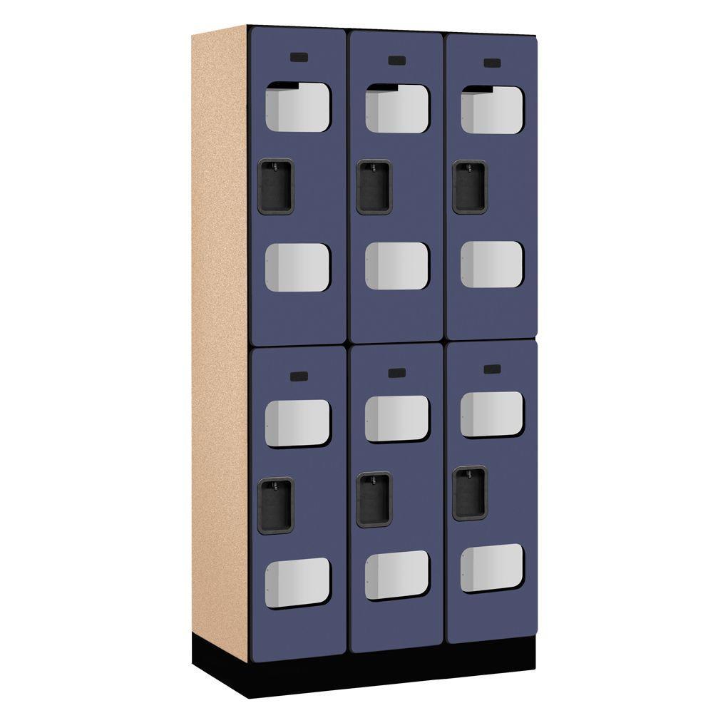 S-32000 Series 36 in. W x 76 in. H x 18 in. D 2-Tier See-Through Designer Wood Locker in Blue