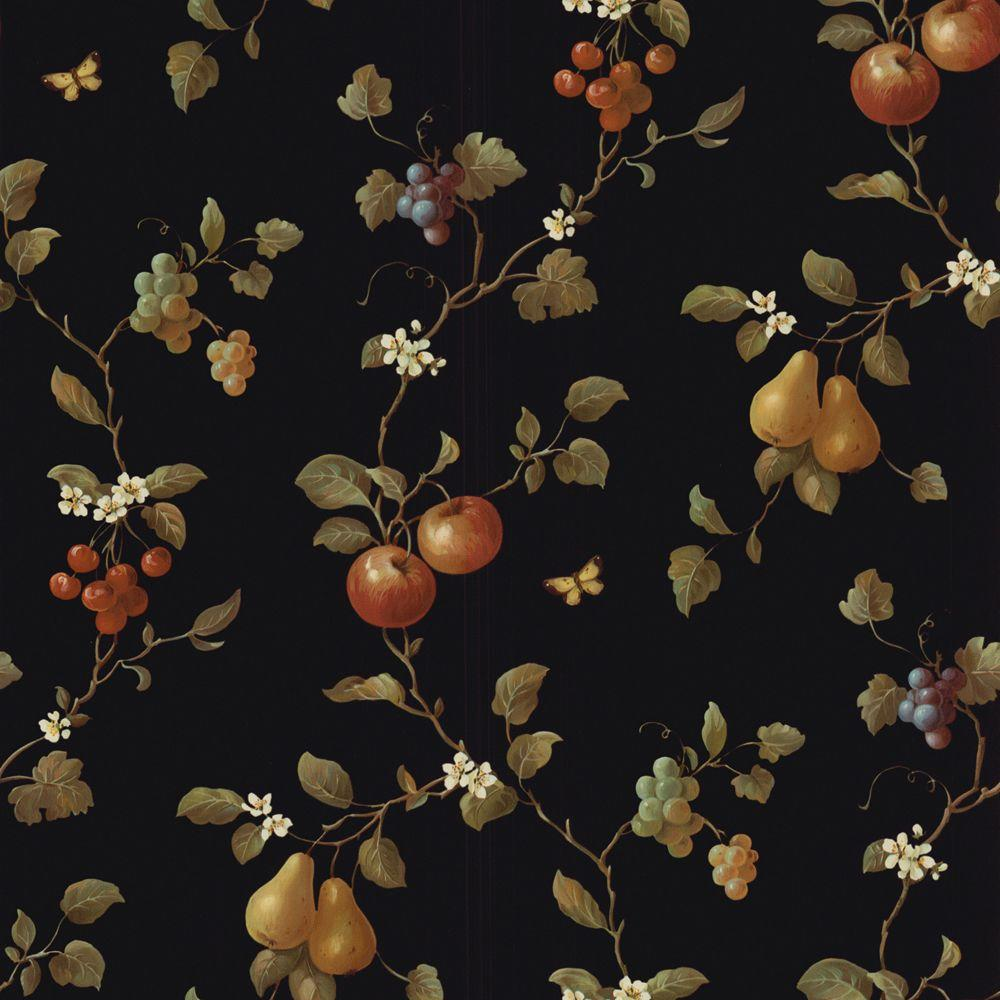 The Wallpaper Company 56 sq. ft. Black Fruit Trail Wallpaper-DISCONTINUED