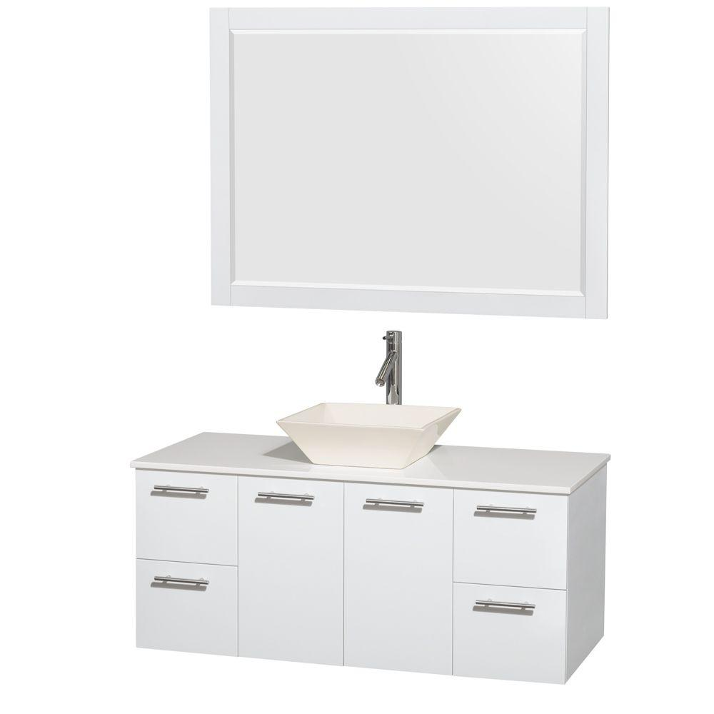 Wyndham Collection Amare 48 in. Vanity in Glossy White with Solid-Surface Vanity Top in White, Porcelain Sink and 46 in. Mirror