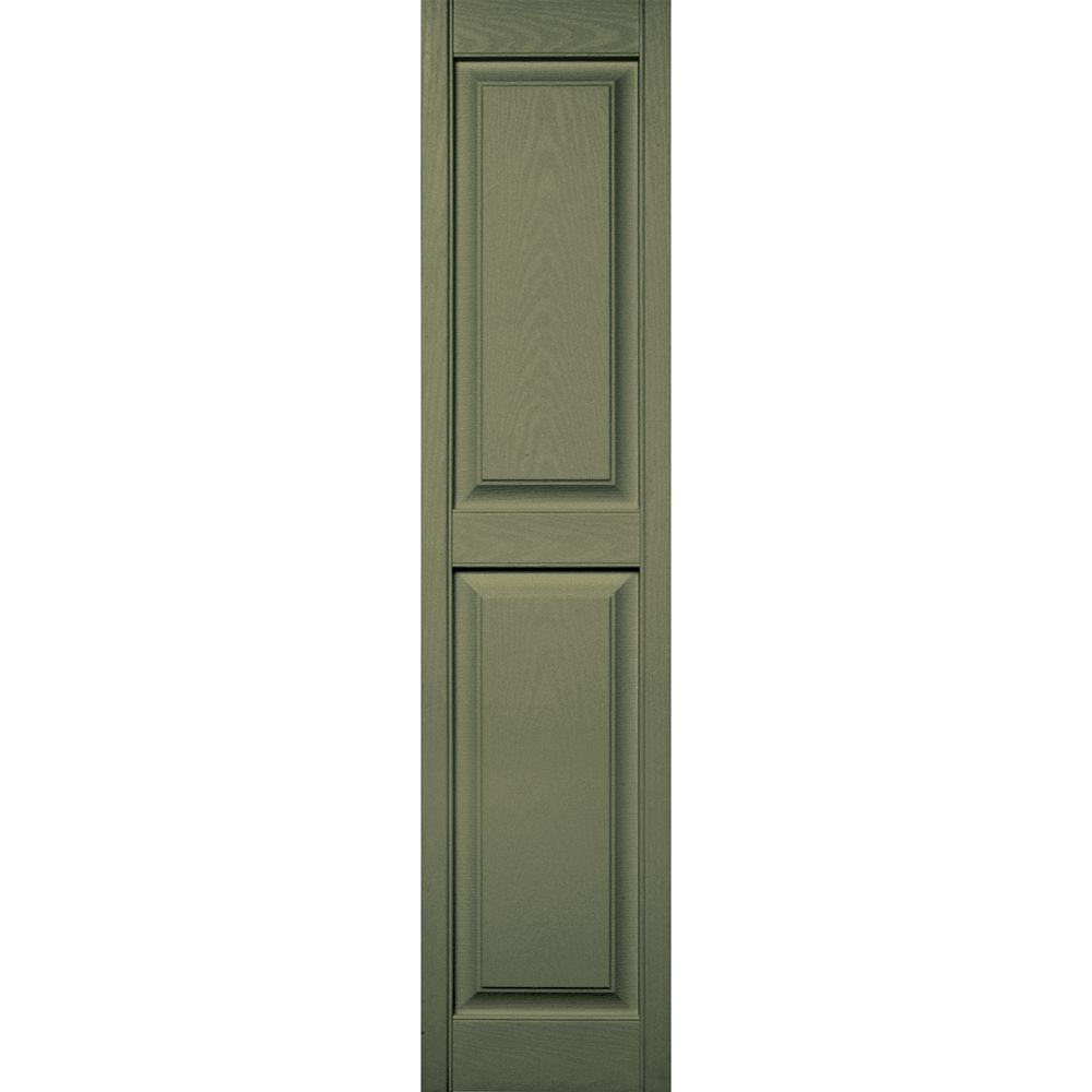 Builders Edge 15 in. x 63 in. Raised Panel Vinyl Exterior Shutters Pair in #282 Colonial Green