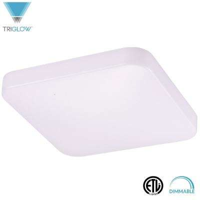 23-Watt White Square Cloud Fixture 14 in. Dimmable Integrated LED Flushmount