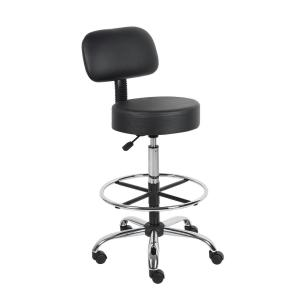 Black Caressoft Medical/Drafting Stool with Back Cushion