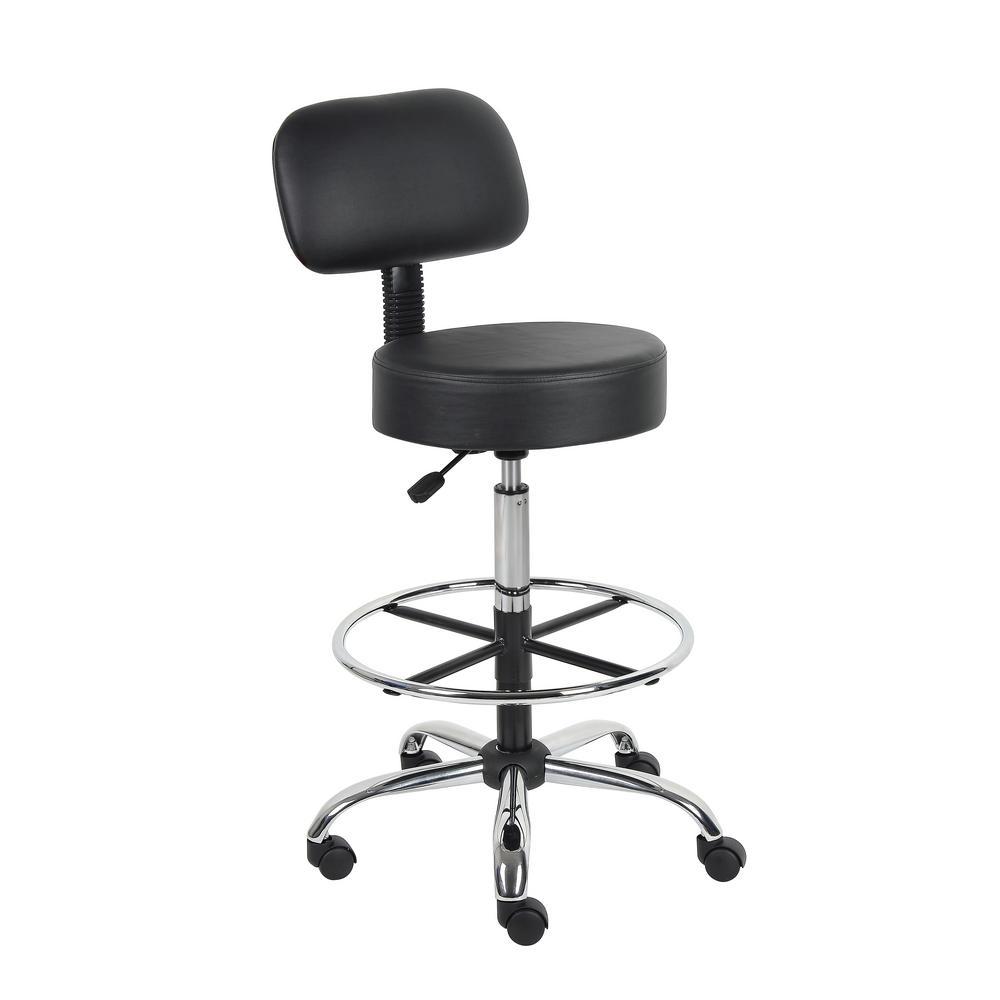 Boss Black Caressoft Medical/Drafting Stool with Back Cushion B16245-BK