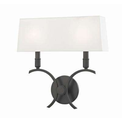 Gwen 2-Light 14.5 in. W Old Bronze Wall Sconce with White Linen Shade
