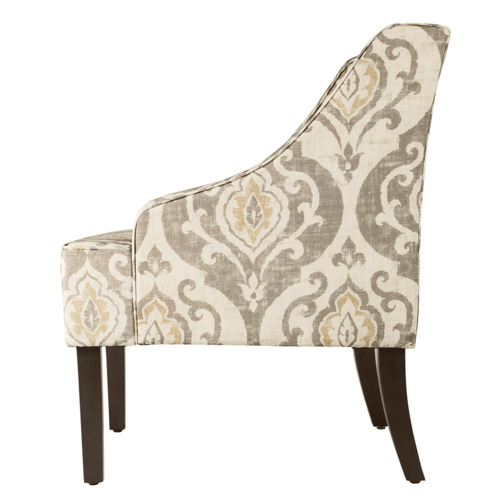 Enjoyable Homepop Tan Yellow And Cream Damask Suri Swoop Arm Accent Lamtechconsult Wood Chair Design Ideas Lamtechconsultcom