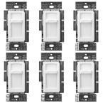 Skylark Contour LED+ Slide Dimmer Switch for Dimmable LED, INC/HAL Bulbs, Single-Pole, White (6-Pack)