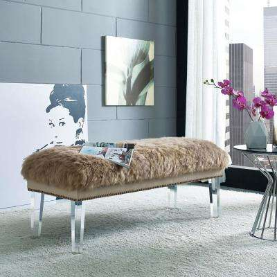 Luxe Brown Sheepskin Lucite Bench