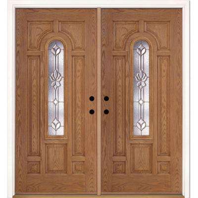 74 in. x 81.625 in. Medina Brass Center Arch Lite Stained Light Oak Right-Hand Fiberglass Double Prehung Front Door