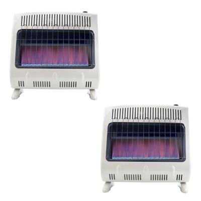 30,000 BTU Blue Flame Natural Gas Wall or Floor Indoor Heater (2-Pack)