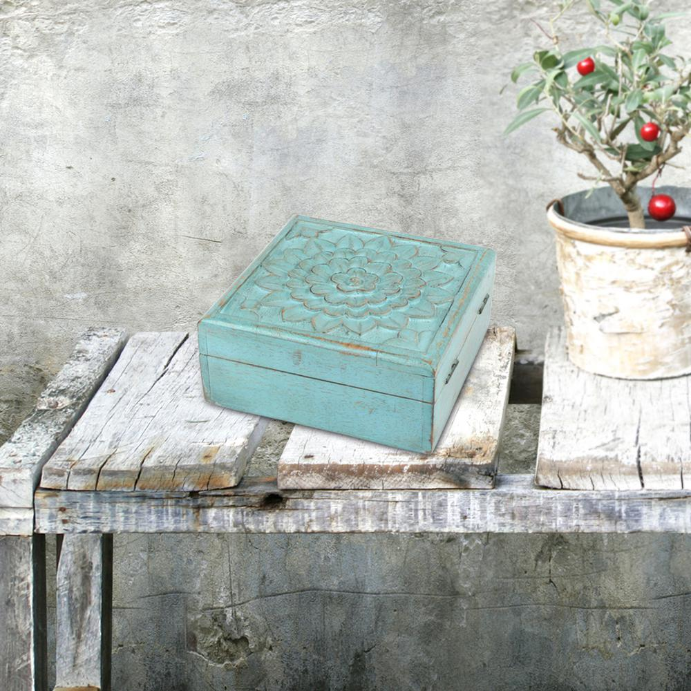 6 in. x 2.5 in. Weathered Sky Blue Wooden Box with Hinges...